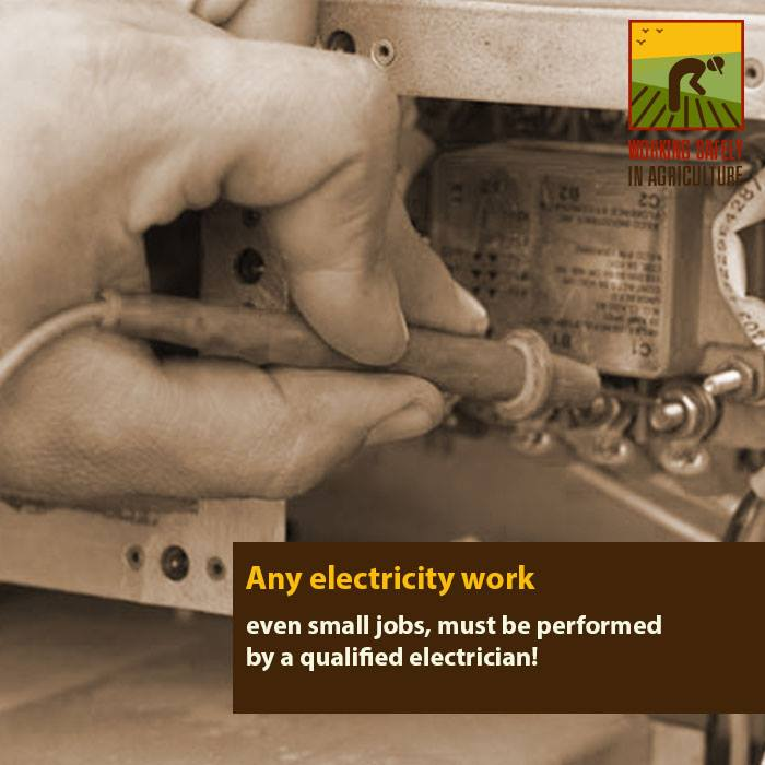 Any electricity work must be performed by a qualified electrician!