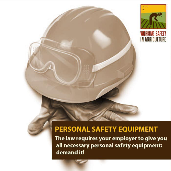 The law requires your employer to give you all necessary personal safety equipment: demand it!